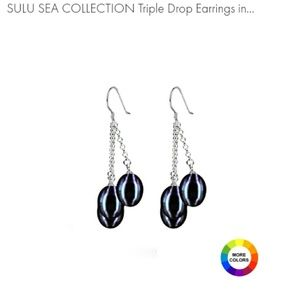 !!SALE!! Black Pearl Triple Drop Earrings